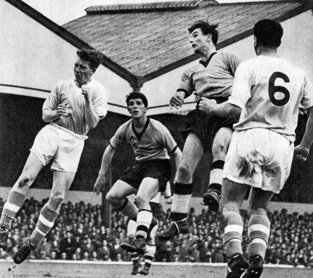 Wolves, represented here by Mancunian Colin Booth (left) and Eddie Clamp, on their way to a 7-2 mauling of Manchester City early in 1955-56.