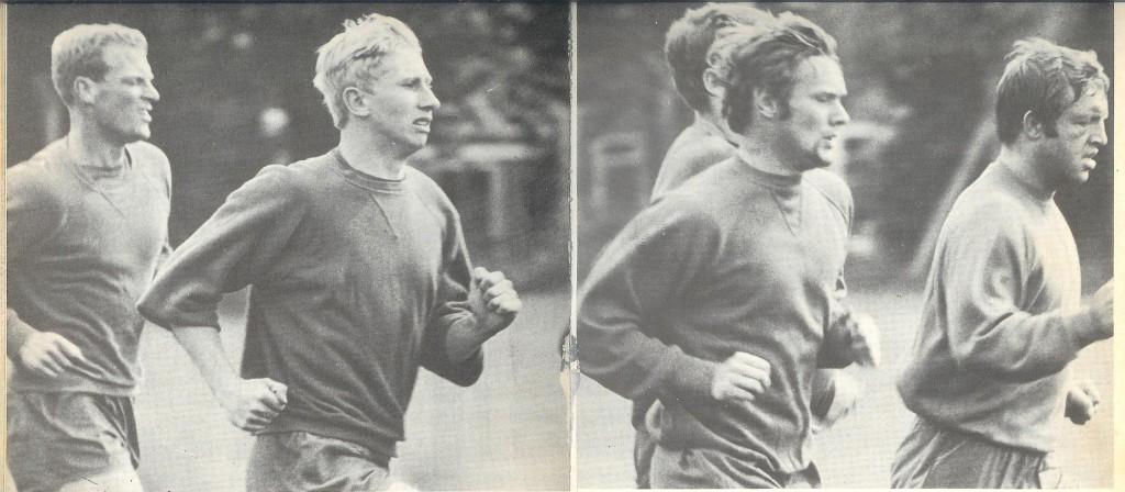 """What was Ron Flowers like?"" Cooke in training with the England great, along with Dave Wagstaffe and Ernie Hunt."
