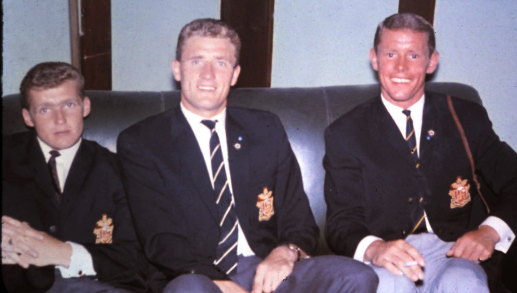 Harris with Terry Wharton (left) and Barry Stobart on Wolves' long summer tour of 1963.