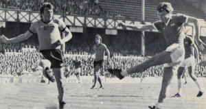 Daly attempts to block from Dave Thomas - later a Wolves player - in the 0-0 draw at Everton early in 1977-78.