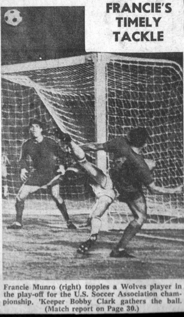 A magazine photo showing Phil Parkes looking on during the epic 1967 American tournament final against Aberdeen.