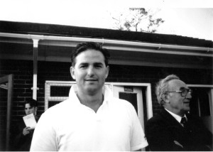 Chris Evans, with Billy Wright nearby, at a Wolves cricket match at Milford Hall in the early 1990s.