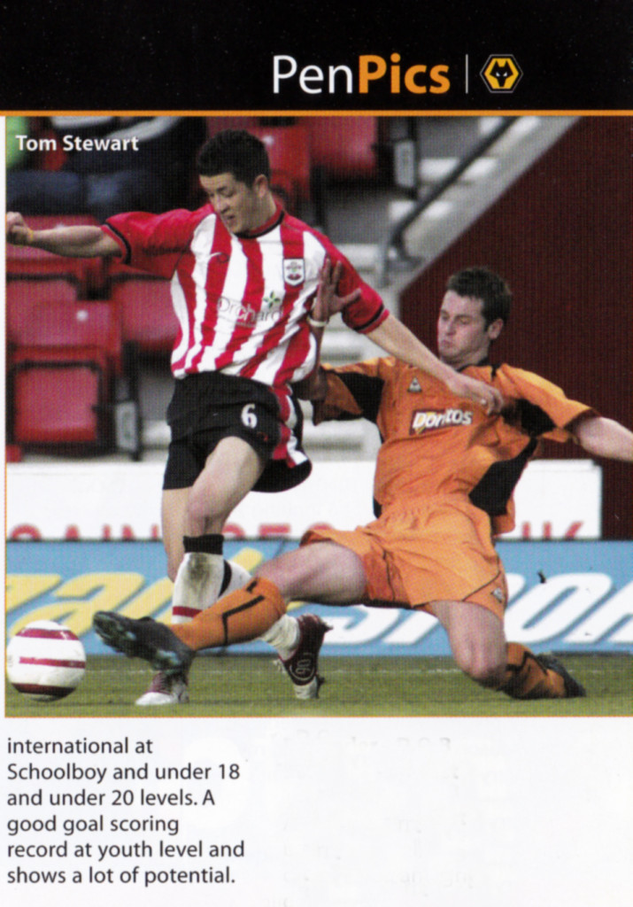 'Thomas' Stewart, as he was referred to on this pen pictures page of the Wolves v Southampton FA Youth Cup semi-final programme in 2005.