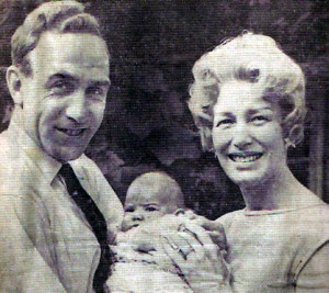 A press cutting of Billy, Joy and their first-born.