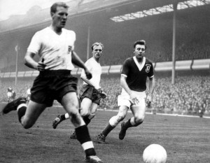 Ron Flowers in action alongside Wolverhampton-born Don Howe in the wing-half's comeback game against Wales at Villa Park in 1958.