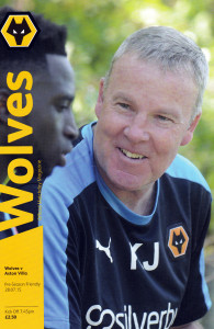 Kenny Jackett on the cover of the programme for this summer's Wolves v Aston Villa friendly.
