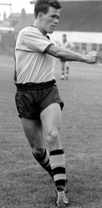 Cliff Durandt kicking in before a game at Molineux.