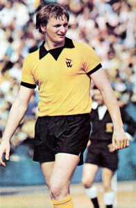 Steve Kindon in the heat of a Wolves pre-season game.