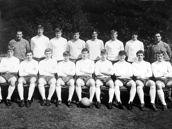 Steve Kindon (two in from the right on the back row) and Dave Thomas (one in from the right on the front row) on England Youth duty together in 1968-69. Also pictured are Mervyn Day (the right of the two keepers), Bill Shorthouse (far right, back row), Albion's Lyndon Hughes (with the ball at his feet) and Mick Docherty (at his left shoulder).