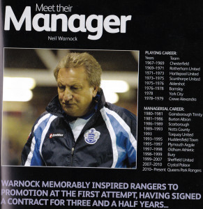 Neil Warnock, as featured in Wolves' programme for the visit of QPR in August, 2011 - six months before he was interviewed by Steve Morgan and Jez Moxey.