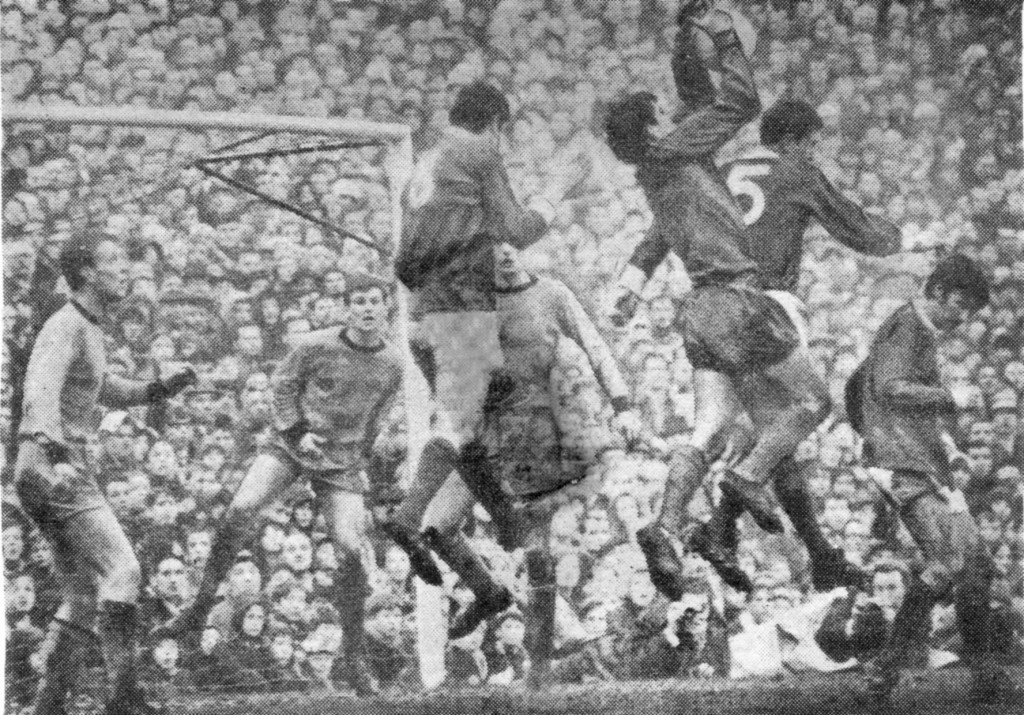 A safe catch by the Dumbarton-born keeper in Wolves' 3-2 home defeat against defending League champions Manchester United on December 30, 1967. Graham Hawkins, Bobby Thomson and John Holsgrove are the defenders pictured while George Best (right) is among the United attackers in view. The crowd at Molineux was 53,940, almost 10,000 more thaqn that having witnessed the Old Trafford clash of the clubs four days earlier.