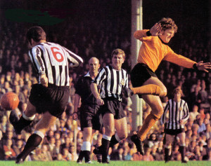 No 6 Bobby Moncur challenges Bernard Shaw in a 1970 Wolves v Newcastle clash.