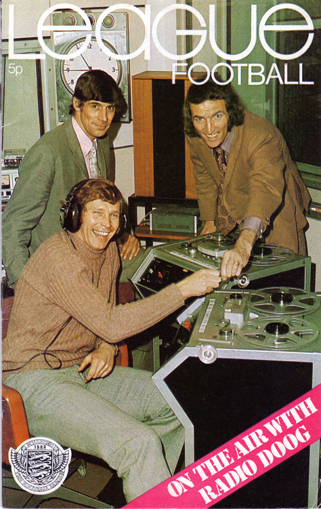 A front cover showing Derek Dougan linking up with Midlands-based keepers John Osborne (standing) and Jim Cumbes to present a regular show on Radio Birmingham.