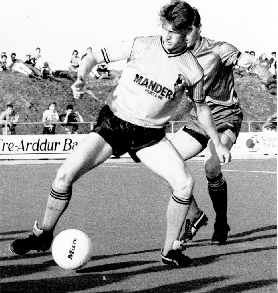 Andy Mutch is challenged by Chris Evans - the long-time youth supremo at Molineux - on Wolves' pre-season visit to Anglesey in 1989.
