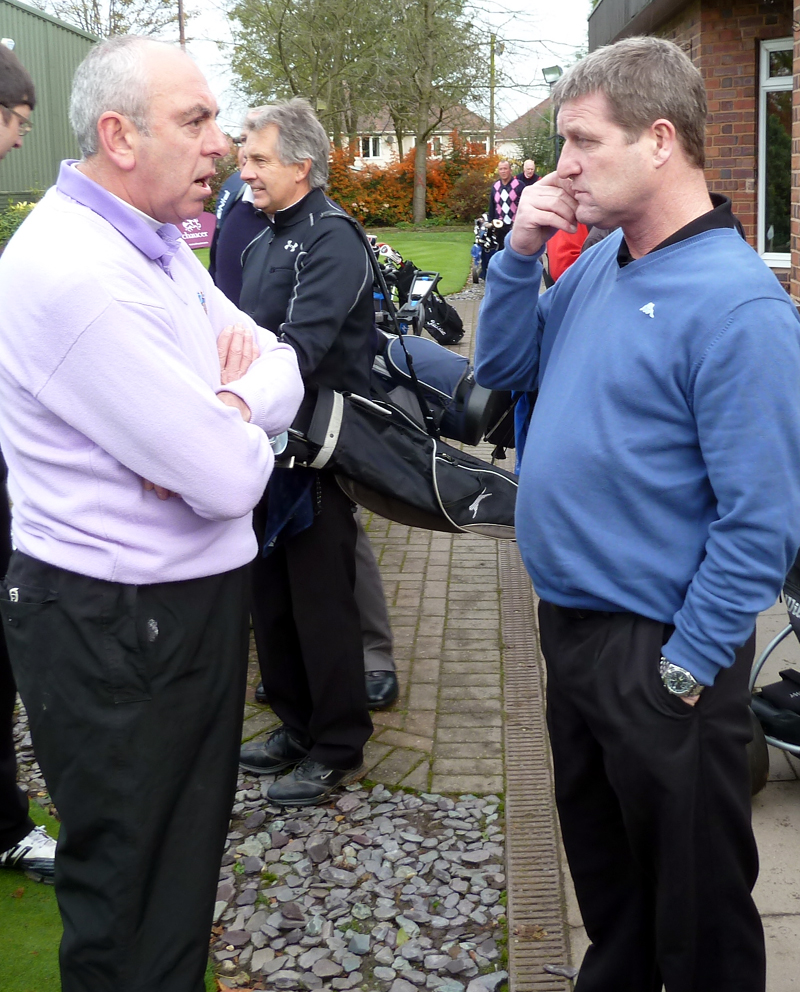 Andy Mutch at a golf day in recent times with Geoff Palmer, a fellow survivor from 1986.
