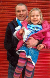 Matt and his daughter in a loving pose....even if the colours are a bit questionable.
