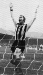 Mick Hickman celebrates a goal for Grimsby.