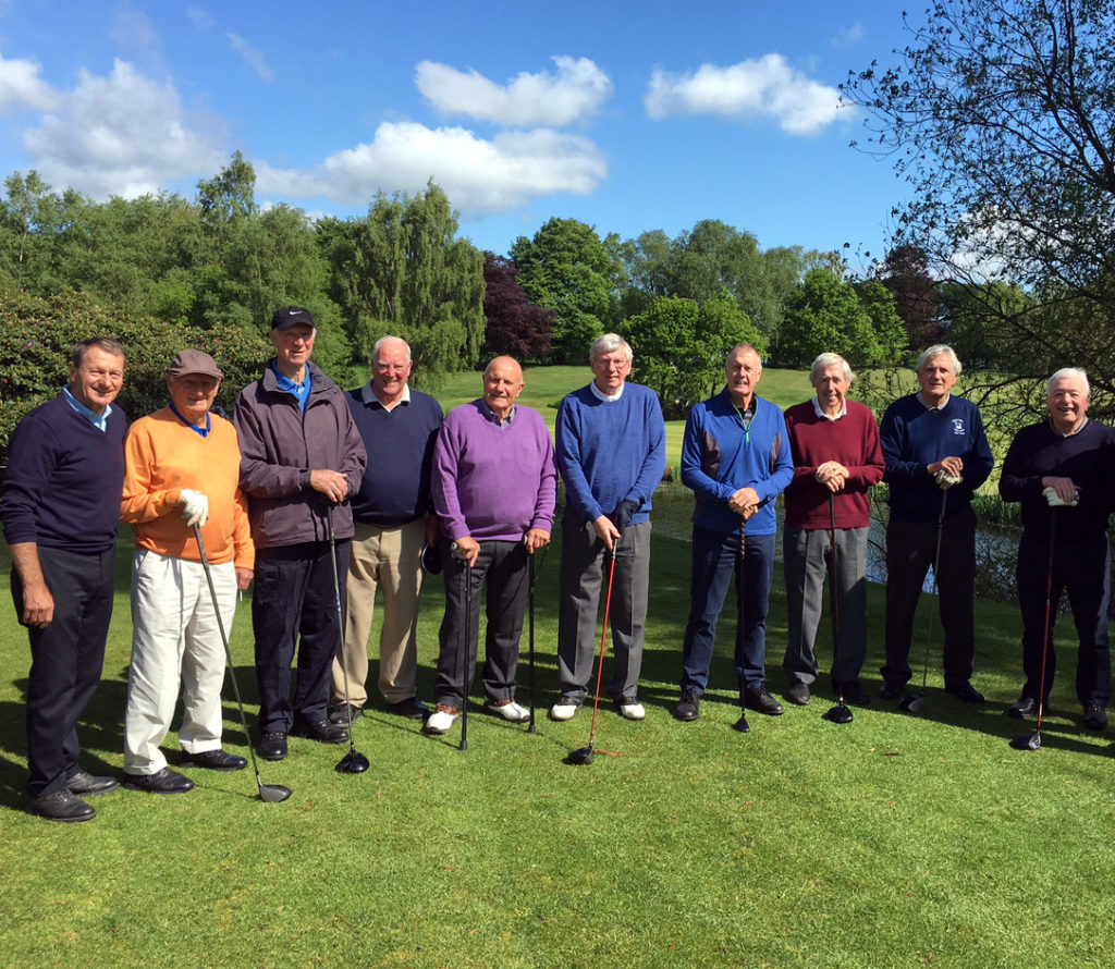 Facing the camera at Brocton Hall today are (from left) Roger Hunt, George Eastham, Jack Charlton, Geoff Hurst, George Cohen, Martin Peters, Geoff Hurst, Norman Hunter and Ian Callaghan.
