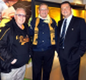 Peter Abbott (left) with Stefan Leonard at the end-of-season hospitality extended by the club to London Wolves recently. Acting as 'guide' on a look round Molineux's terrific museum is Jez Moxey.