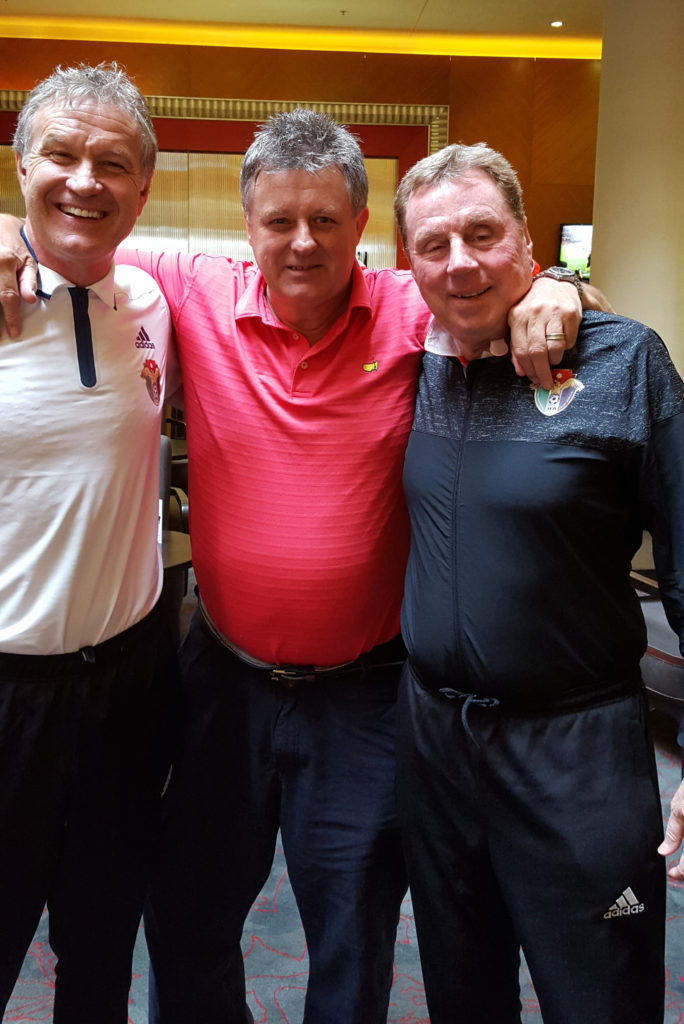 In the company of Kevin Bond (left) and Harry Redknapp.