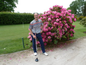Could it be Augusta? Kenny Hibbitt among the beautiful shrubbery at Enville recently.