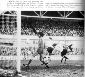 George Berry in action for Wales at Wrexham.