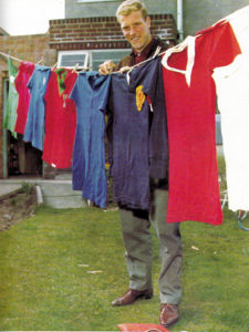 Ron with a few of the international shirts he collected during his 49-cap