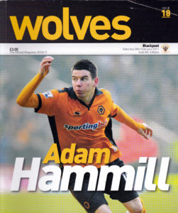 Adam Hammill pictured on the front page of Wolves' programme shortly after his arrival at Molineux.