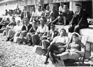 Wolves' players on the beach in Nice.