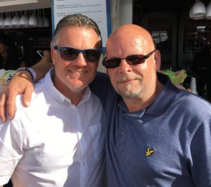 Andy Sinton in France with Wolves fanatic Steve Plant - entrepreneur behind the 'They Wore The Shirt' book.