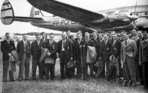 Billy Wright, Bert Williams and Jimmy Mullen among the England squad en route for their ill-fated 1950 World Cup campaign.