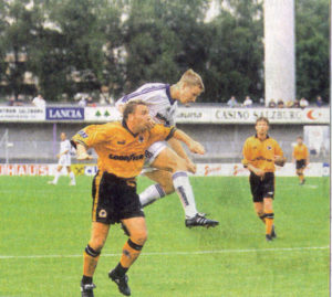 Paul Simpson beaten in the air by his man - and Wolves were left grounded by Salzburg in 1998.