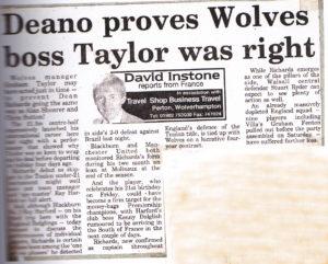 A despatch about Deano.