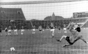 Phil Parkes beaten for once by a Ferencvaros penalty.