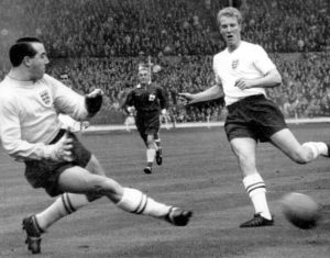Ron Flowers in action for his country at Wembley.