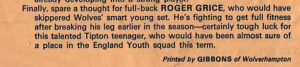 A hard-luck story from the programme for Wolves' home tie against Stoke in the 1968-69 FA Youth Cup.