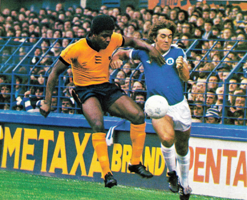 Bob Hazell and Bob Latchford in hot pursuit of possession in an Everton v Wolves game in September, 1978.