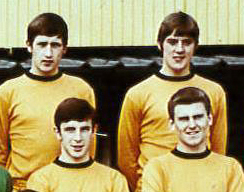 Roger Grice (back left) on a 1968-69 squad photo with (clockwise) Grenville Riley, Bobby Thomson and Gerry Taylor.