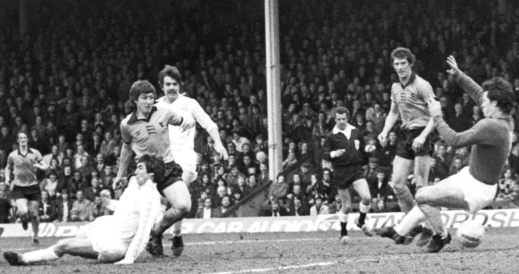Don't look, Sam! Allardyce is left floundering as John Richards scores against Bolton in 1978-79 after the Trotters had at last reached the top flight.