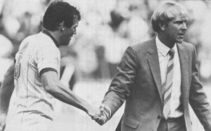 Shaking hands with Eddie Gray after the 0-0 draw at Leeds early in 1982-83.