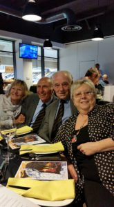 Mike Bailey and Terry Wharton with wives Barbara and Sue at Molineux yesterday.
