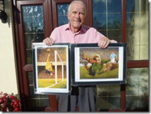 Glyne Wetton with two of the re-framed keepsakes.