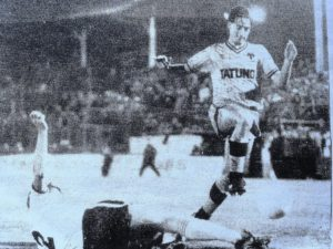 Bennett on the charge in Wolves' Milk Cup exit at Preston (one of his subsequent clubs) early in 1983-84.