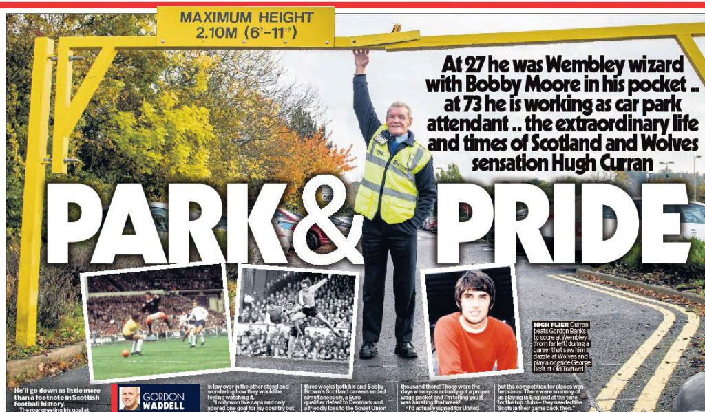 How Hugh was featured in print last weekend.....the small colour action photo shows his Wembley goal in 1971.