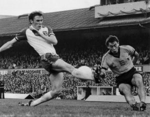 Thomas digs out a cross against Norwich in October, 1979.